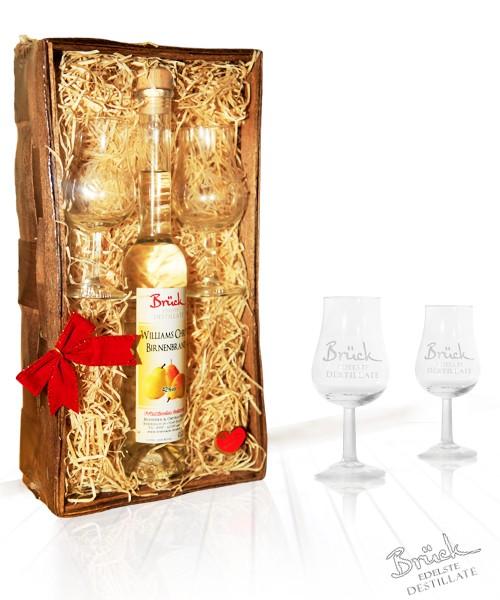 """Geschenkkorb mit 2 Gläsern""""Brück Edelste Destillate"""""""